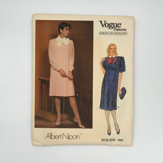 Vogue 1302 Albert Nipon Dress with Sleeve Variations - Size 16 Bust 38 - Vintage Uncut Sewing Pattern