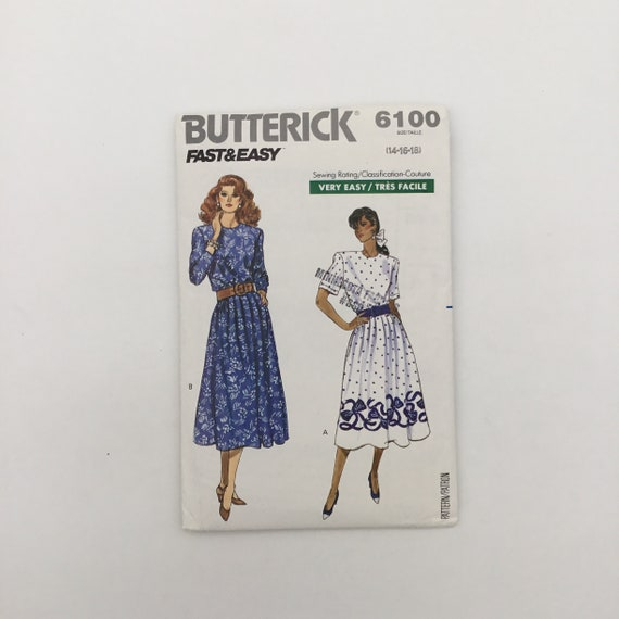 Butterick 6100 (1988) Dress with Sleeve Variations - Size 14-18 Bust 36-40 - Vintage Uncut Sewing Pattern
