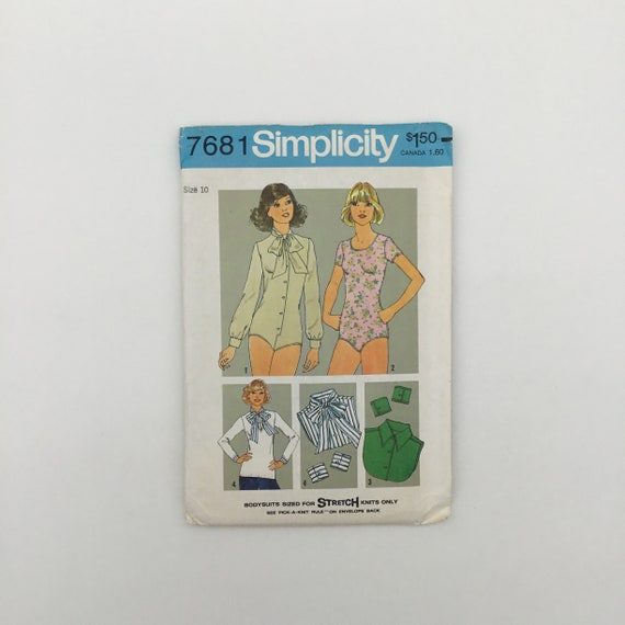 Simplicity 7681 (1976) Bodysuit with Detachable Collars and Cuffs - Size 10 Bust 32.5 - Vintage Uncut Sewing Pattern
