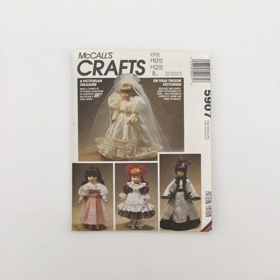 McCall's 5907 (1992) Victorian Doll Clothes - Vintage Uncut Sewing Pattern