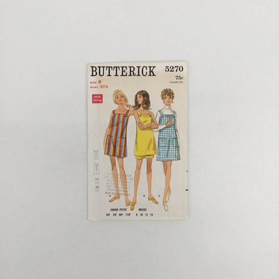 Butterick 5270 Dress, Jumper, and Shorts - Multiple Sizes Available - Vintage Uncut Sewing Pattern