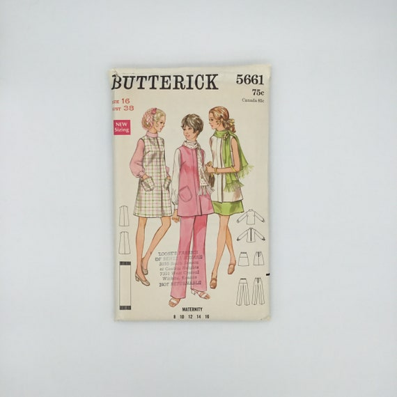 Butterick 5661 Maternity Jumper, Tunic, Blouse, Skirt, Pants, and Scarf - Size 16 Bust 38 - Vintage Uncut Sewing Pattern