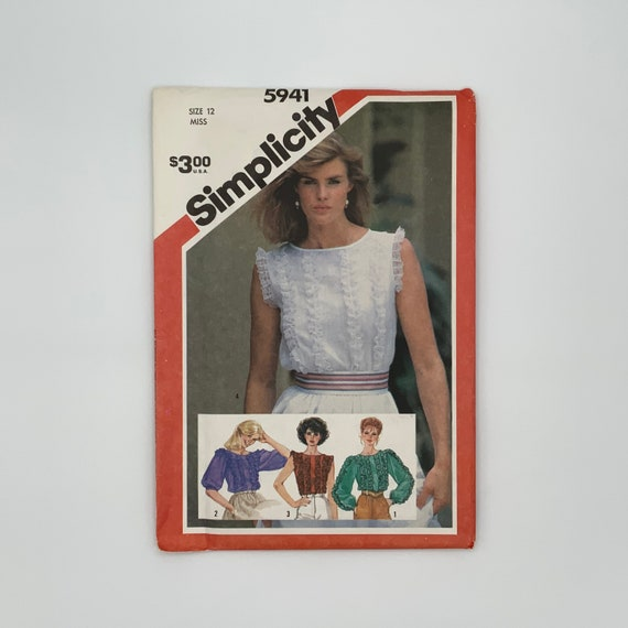 Simplicity 5941 (1983) Blouse with Sleeve Variations - Size 12 Bust 34 - Vintage Uncut Sewing Pattern