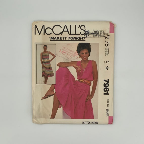 McCall's 7961 (1982) Dress with Style Variations - Size 10-12 Bust 32.5-34 - Vintage Uncut Sewing Pattern