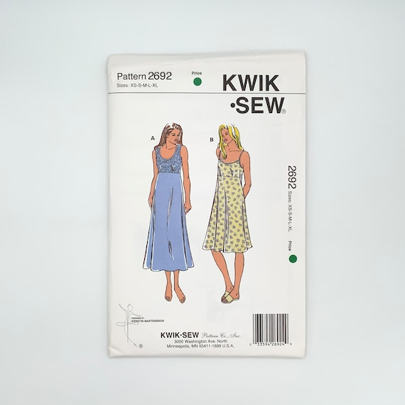 Kwik Sew 2692 (1998) Nightgown with Style and Length Variations - Size XS-XL Bust 31.5-45  - Vintage Uncut Sewing Pattern