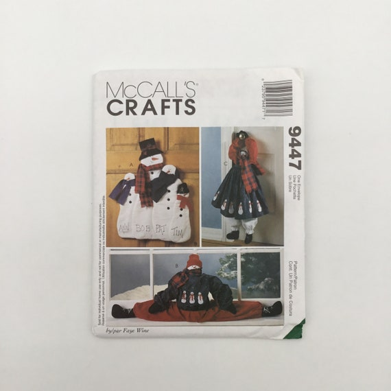 McCall's 9447 (1998) Faye Wine Snowman Wall Hanging, Door Hanging, and Draft Blocker - Vintage Uncut Sewing Pattern