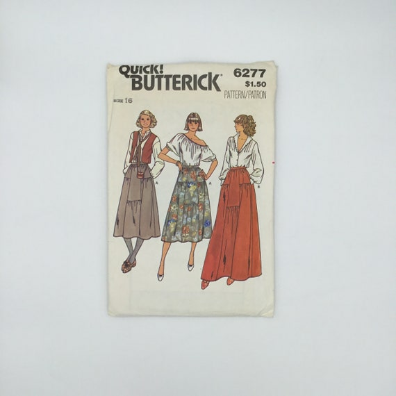 Butterick 6277 Skirt with Length Variations - Size 16 - Vintage Uncut Sewing Pattern