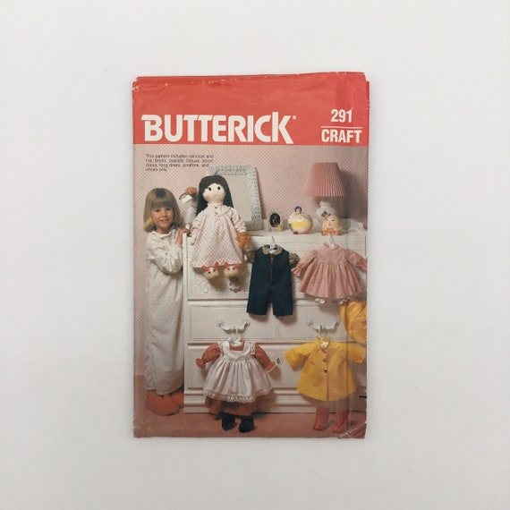 "Butterick 291 Clothes for 19"" Dolls - Vintage Uncut Sewing Pattern"