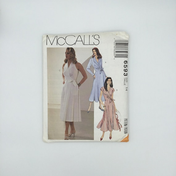 McCall's 6593 (1993) Wrap Dress with Sleeve Variations - Size 14 Bust 36 - Vintage Uncut Sewing Pattern