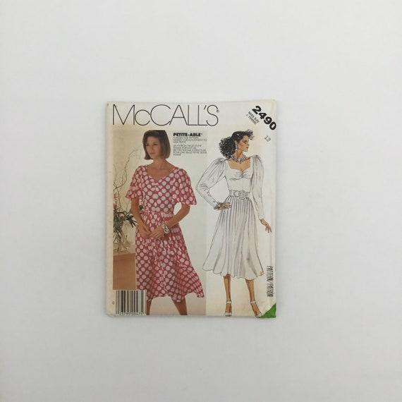McCall's 2490 (1986) Dress with Sleeve Variations - Size 12 Bust 34 - Vintage Uncut Sewing Pattern