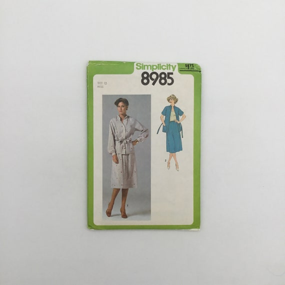 Simplicity 8985 (1979) Top and Skirt - Size 12 Bust 34 - Vintage Uncut Sewing Pattern