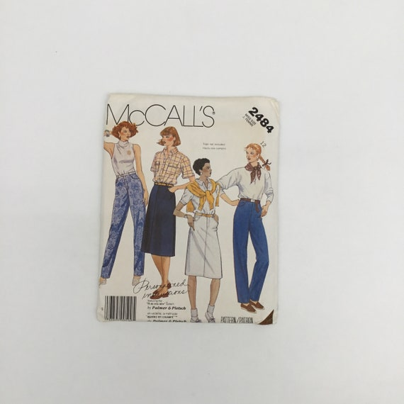 McCall's 2484 (1986) Palmer Pletsch Jeans and Skirt - Size 12 - Vintage Uncut Sewing Pattern
