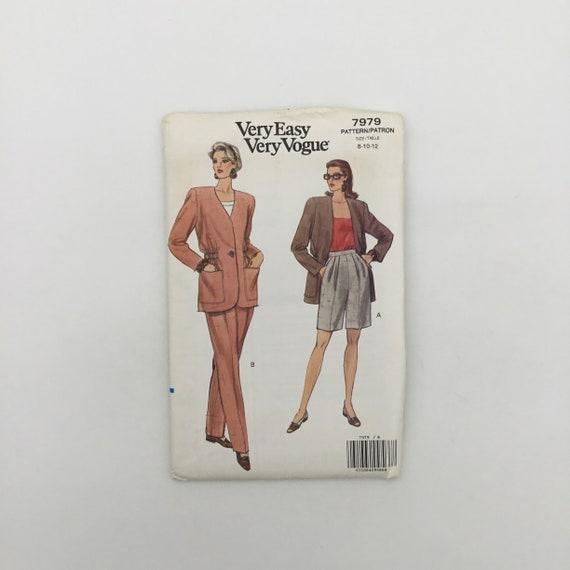 Vogue 7979 (1991) Jacket, Pants, and Shorts - Size 8-12 Bust 31.5-34 - Vintage Uncut Sewing Pattern
