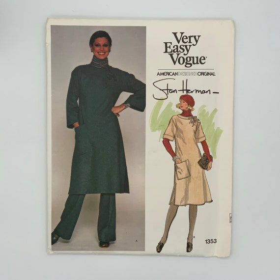 Vogue 1353 Stan Herman Tunic, Dress, and Pants - Size 8 Bust 31.5 - Vintage Uncut Sewing Pattern