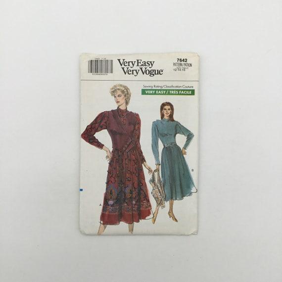 Vogue 7642 (1989) Dress and Vest - Size 12-16 Bust 34-38 - Vintage Uncut Sewing Pattern