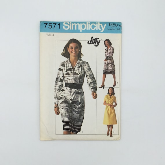 Simplicity 7571 (1976) Dress with Sleeve Variations - Size 14 Bust 36 - Vintage Uncut Sewing Pattern
