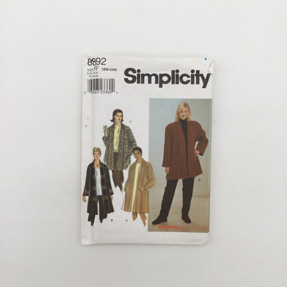 Simplicity 8892 (1999) Coat or Jacket - Size 18W-24W Bust 40-46 - Vintage Uncut Sewing Pattern