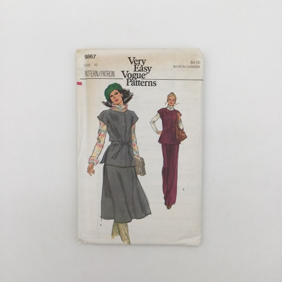 Vogue 9867 Tunic, Skirt, and Pants - Size 42 Bust 46 - Vintage Uncut Sewing Pattern