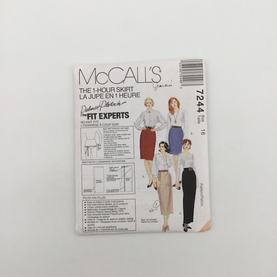 McCall's 7244 (1994) Palmer Pletsch One Hour Skirt with Length Variations - Size 16 - Vintage Uncut Sewing Pattern