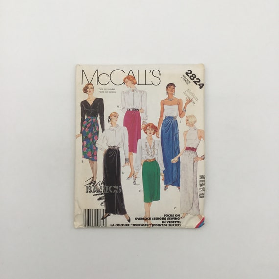 McCall's 2824 (1986) Skirt with Length and Style Variations - Size 14-16 Waist 28-30 - Vintage Uncut Sewing Pattern