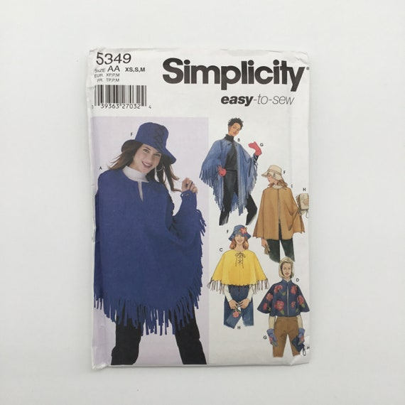 Simplicity 5349 (2003) Poncho, Purse, Hat, and Mittens - Size XS-M Bust 30.5-38 - Uncut Sewing Pattern