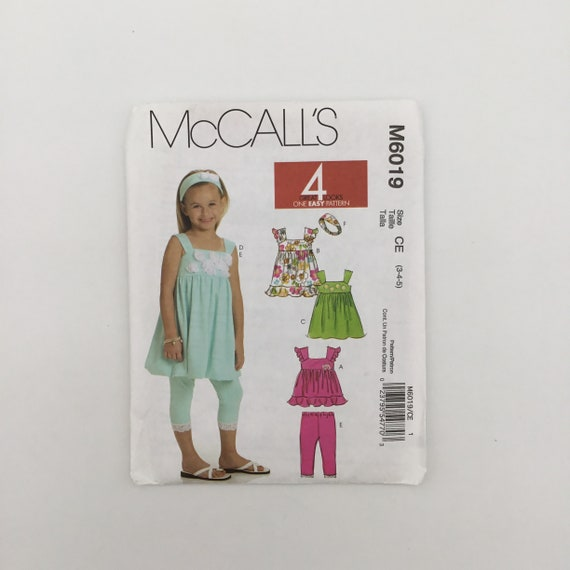 McCall's 6019 (2010) Top, Dress, and Leggings - Size 3-5 - Uncut Sewing Pattern