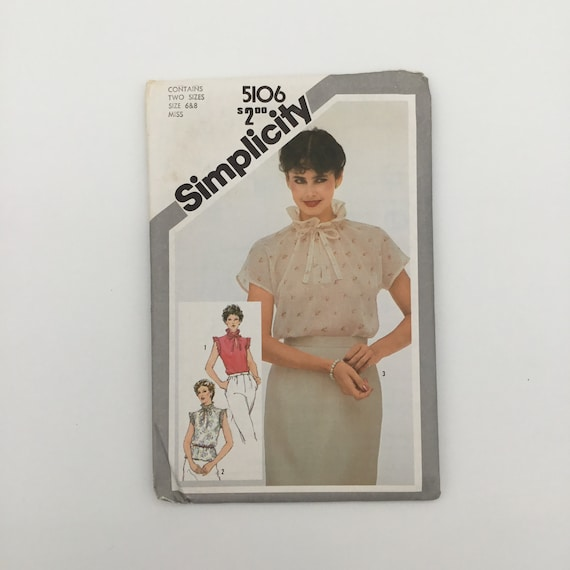 Simplicity 5106 (1981) Blouse with Sleeve Variations - Multiple Sizes Available - Vintage Uncut Sewing Pattern