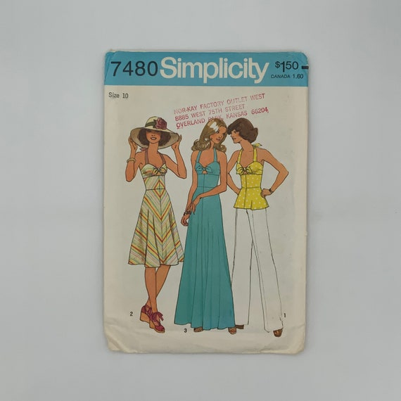 Simplicity 7480 (1976) Top and Dress with Length Variations - Size 10 Bust 32.5 - Vintage Uncut Sewing Pattern