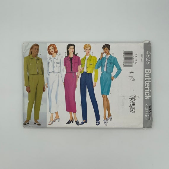 Butterick 4828 (1997) Jacket, Top, Skirt, and Pants - Size 6-12 Bust 30.5-34 - Vintage Uncut Sewing Pattern