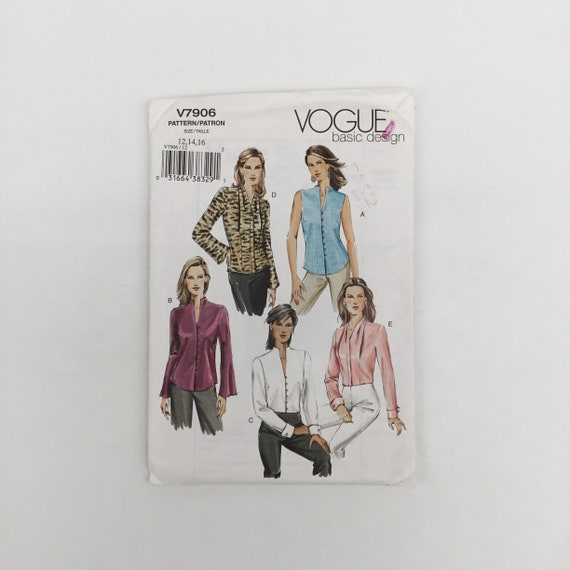 Vogue 7906 (2004) Blouse with Neckline and Sleeve Variations - Size 12-16 Bust 34-38 - Uncut Sewing Pattern