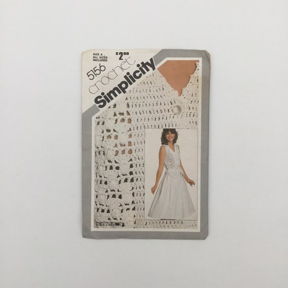 Simplicity 5156 (1981) Crochet Top and Fabric Skirt - Size 6-16 Bust 30.5-38 - Vintage Uncut Sewing Pattern