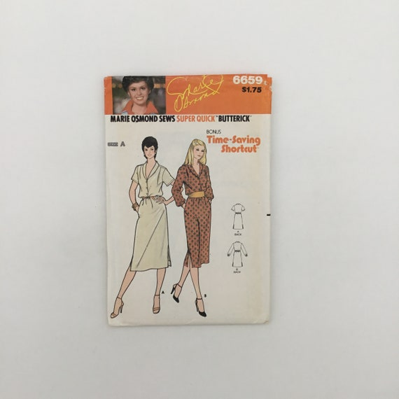 Butterick 6659 Marie Osmond Dress with Sleeve Variations - Size 8-12 Bust 31.5-34 - Vintage Uncut Sewing Pattern