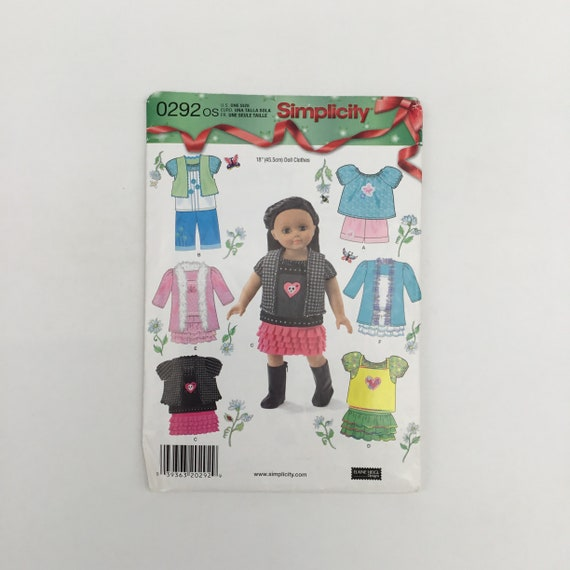 "Simplicity 292 (2013) 18"" Doll Clothes - Uncut Craft Pattern"
