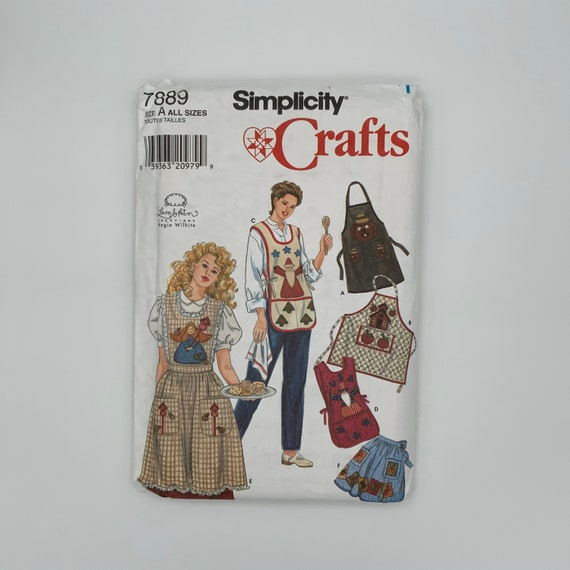 Simplicity 7889 (1997) Aprons with Style Variations - Size 10-20 Bust 32.5-42 - Vintage Uncut Sewing Pattern
