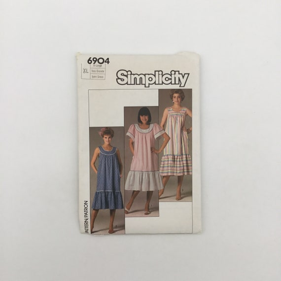 Simplicity 6904 (1985) Dress with Sleeve Variations - Size XL Bust 44-46 - Vintage Uncut Sewing Pattern