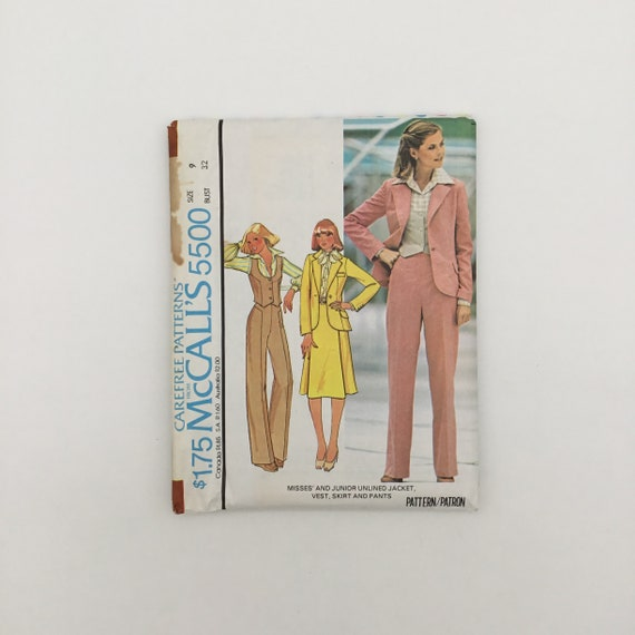 McCall's 5500 (1977) Jacket, Vest, Skirt, and Pants - Multiple Sizes Available - Vintage Uncut Sewing Pattern