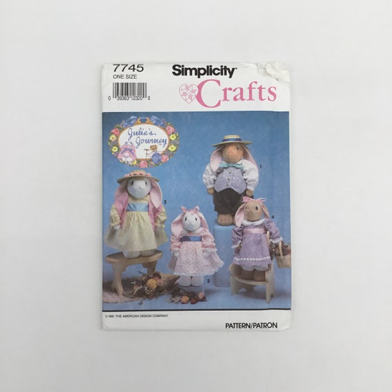 Simplicity 7745 (1992) Bunny in Two Sizes with Clothes - Vintage Uncut Craft Pattern
