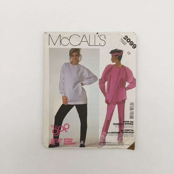 McCall's 2099 (1985) The Gap Top and Stirrup Pants - Size 12 Bust 34 - Vintage Uncut Sewing Pattern