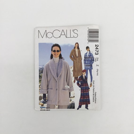 McCall's 2473 (1999) Coat and Jacket - Size XL-XXL Bust 42-48 - Vintage Uncut Sewing Pattern