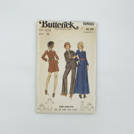 Butterick 6866 Dress, Shirt, and Pants - Size Junior 11/12 Bust 32 - Vintage Uncut Sewing Pattern