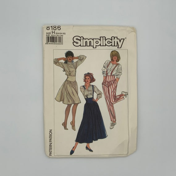 Simplicity 8186 (1987) Suspender Pants and Skirt with Length Variations - Size 6-10 - Vintage Uncut Sewing Pattern