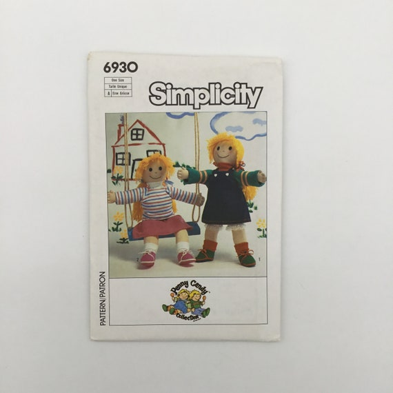 "Simplicity 6930 (1985) Penny Candy 21"" Doll and Clothes - Vintage Uncut Sewing Pattern"