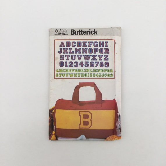 Butterick 6244 (1999) Duffel Bag and Varsity Letters  - Vintage Uncut Sewing Pattern