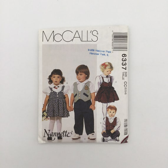 McCall's 6337 (1993) Jumper, Tops, Vest, Pants, and Knickers - Size 2-4 - Vintage Uncut Sewing Pattern