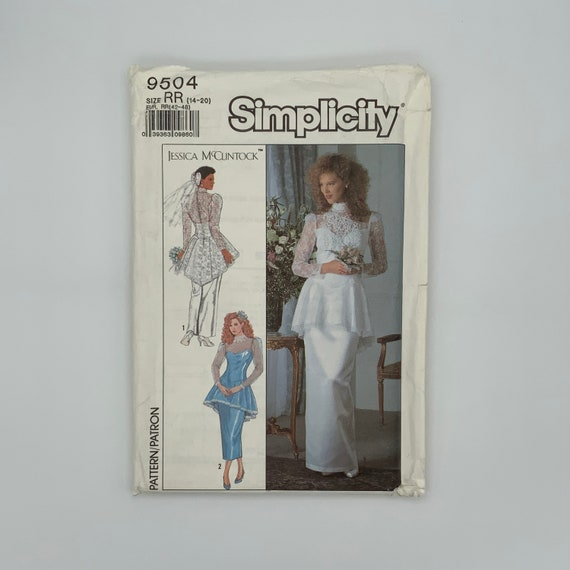 Simplicity 9504 (1989) Jessica McClintock Dress with Length Variations - Size 14-20 Bust 36-42 - Vintage Uncut Sewing Pattern
