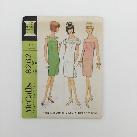 McCall's 8262 (1966) Dress with Sleeve Variations - Size 10 Teen Bust 30 - Vintage Uncut Sewing Pattern