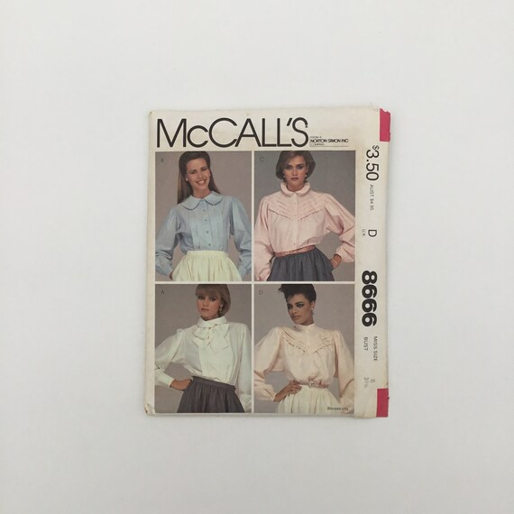 McCall's 8666 (1983) Blouse with Collar Variations - Multiple Sizes Available - Vintage Uncut Sewing Pattern