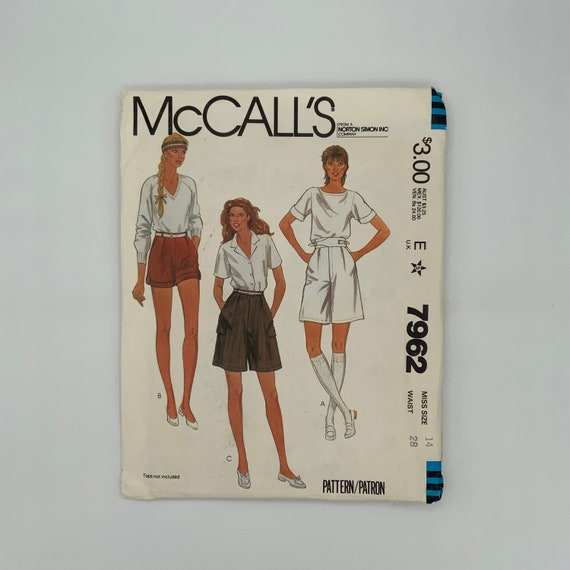 McCall's 7962 (1982) Shorts with Style and Length Variations - Size 14 - Vintage Uncut Sewing Pattern