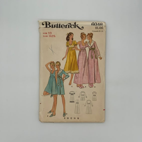 Butterick 6048 Nightgown and Robe with Sleeve and Length Variations - Size 10 Bust 32.5 - Vintage Uncut Sewing Pattern