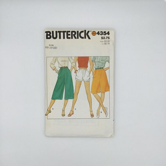 Butterick 4354 Culottes and Shorts - Size 18-22 - Vintage Uncut Sewing Pattern